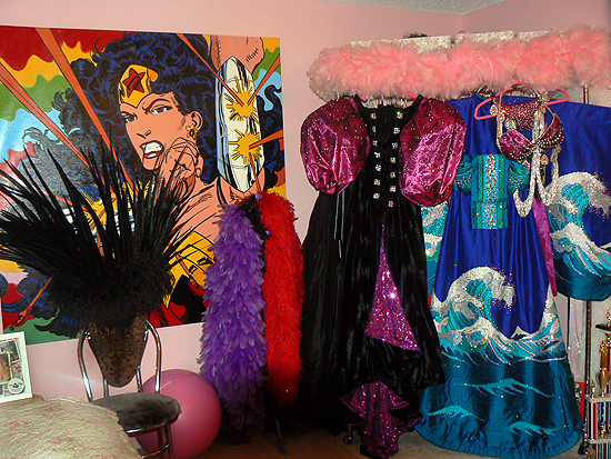 A glimpse of Kalani's costume room - and some of her most elaborate, well known costumes. (No wonder they cost so much and take so long! But so worth it...)  ©21:CP