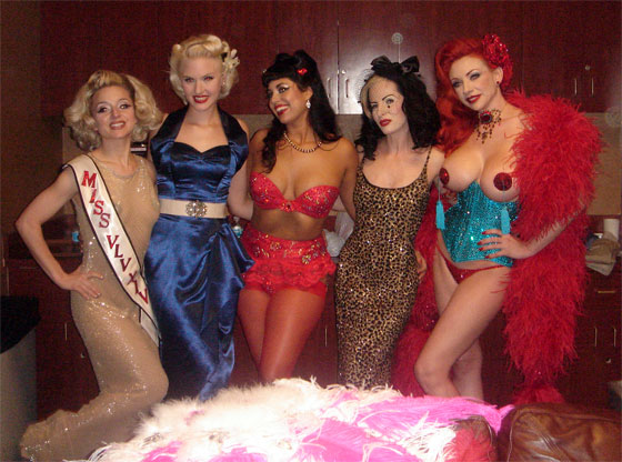 Left to right: Inga Ingenue, Slinky Sparkles, Coco Lectric, Victoria Vengeance, Miss Redd.   (©Slinky Sparkles. Please show respect and ask permission to use this image.)