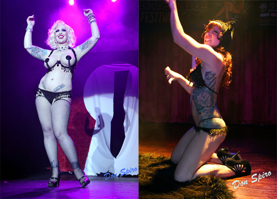 Popular tattooed performers: Mimi Le Meaux (left) on stage at BHoF 2010, and Peekaboo Pointe (right) performing at NYBF.   (©Don Spiro)