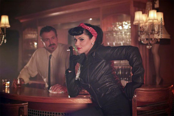 Roxi as Bourbon Sue in the upcoming movie, Burlesque Assassins. (©Michelle Faye.ca)