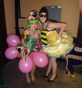 Roxie Moxie and her helper bee, Jade Vivian backstage at the Texas Tease Show