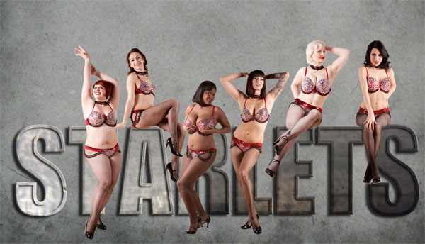 The Chicago Starlets: (left to right) Frenchie Kiss, Lily Bloom, Rhonda Vous, Delia Aces, Lady Ginger, and Greta Layne.  © PEZ photo