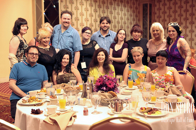 Dustin (centre) with Laura Herbert (to his right) and other team members, legends and members of the community at the BHoF Weekend 2011.  ©Don Spiro