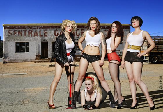Dangerous Curves Ahead!: (left to right) Minnie Tonka, GiGi La Femme, Clams Casino, Darlinda Just Darlinda and Anita Cookie.    ©Clint Hild