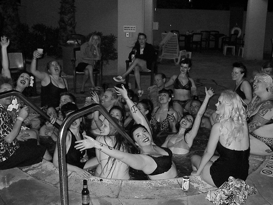 What to do after a long day of burlesque in the dusty dessert? Jump into the hot tub, of course. I was on my way out at this point for the long drive home, but I had to snap this shot of several neo-burlesque pioneers taking a dip. The tales of the makeup, dust, and glitter based film that covered the top layer of water after everyone left the tub were legendary. I am sure there are better shots of this out there, but it was a nice moment in time to capture. Also, Mig was a blonde??  ©Chris Beyond