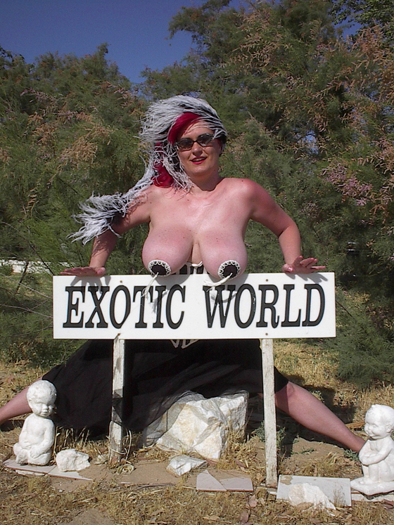 Another image from Exotic World's final year in Helendale. This is one of the first shots I took of one of my best friends. We took to each other perfectly from when we first met as we set up seats and tents for the show. Half way through the day I asked if she wanted to shoot some photos and we got a lot of great shots in the desert, including this one with Lili hanging out over one of Exotic World signs.  ©Chris Beyond