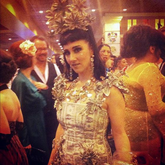 Reigning Queen 2011, Indigo Blue looking stunning in a dollar bill dress!  ©Cadence Macmichael