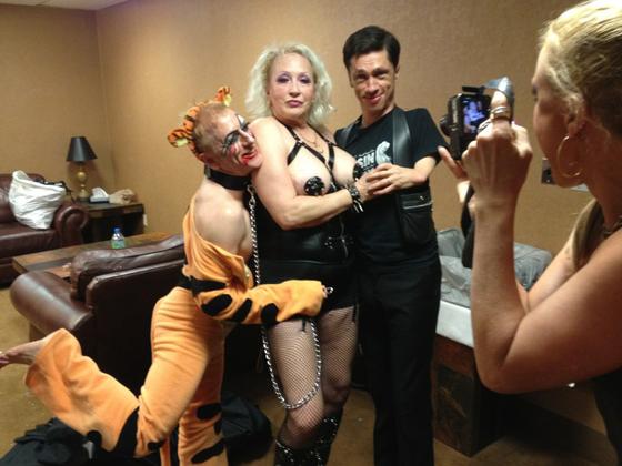 Tigger!, Camille 2000 and Thursday night co-host, Mat Fraser pose backstage...  ©Jo Weldon - thanks Jo!