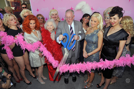 The ribbon cutting ceremony for the grand opening of the Burlesque Hall of Fame Museum with mayor, Oscar Goodman in 2010. That was such a great day, and everyone was really happy.   ©Derek Jackson