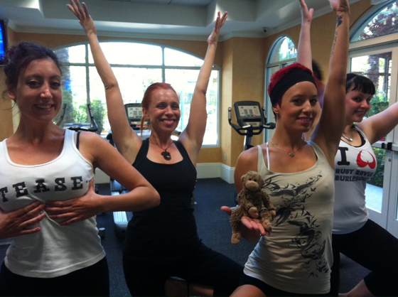 Trixie Minx, Ophelia Flame and Bella Blue fitting in some morning yoga...  ©Bella Blue - thanks Bella!