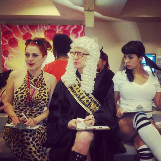 Jo Weldon, Tigger! and Coco Lectric prepare to judge the Barecats Bowling Tournament!  ©Darlinda Just Darlinda