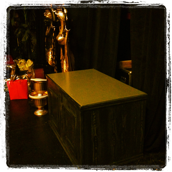 Fully assembled desk back stage and at the ready!  ©Frenchie Kiss