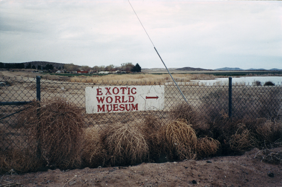 """The sign pointing to the """"EXOTIC WORLD MUESUM"""" shot in 2001. I think nothing speaks louder to the DIY folk art roots of the Neo-Burlesque movement that that wonderfully misspelled sign.  ©Chris Beyond"""