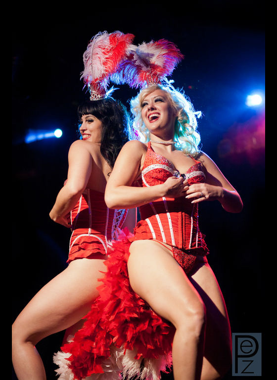 Ginger Valentine and Missy Lisa perform their duet in the Stripper's Holiday fundraiser show at the end of the week.   ©PEZ Photo