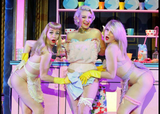Coco's Kitchen: Coco DuBois (centre) with Peggy de Lune (left) and Stephanie Jayne Thompson (right).  ©Francis Loney  Polly and Girlys in the 'Japanese/Umbrella' finale.  ©Dan Wooller  (The Hurly Burly Show)