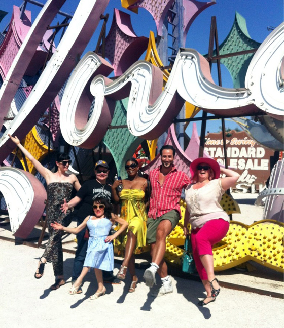 Dirty and the SSH cast at the Las Vegas neon Museum. Left to right: Lada, Murray Hill, Selene Luna, Perle Noire, Monsieur Romeo and Dirty Martini. ©Dirty Martini
