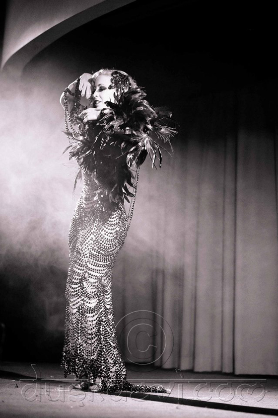 Peekaboo Pointe in her stunning beaded dress. Courtesy of Dusk Devi.