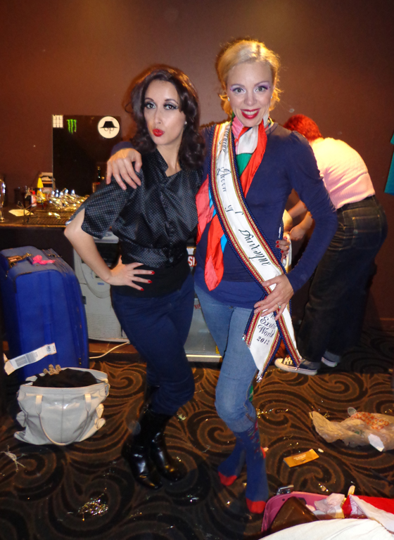 The Queen, Imogen Kelly, with her sash and I backstage at The Big Tease. 9th June. ©Miss La Vida