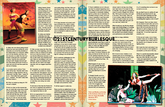 Ten Years of Trixie and Monkey - Full 7 Page Interview in the 21CB Print Edition.