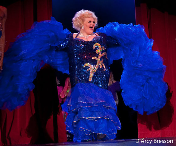 Big Fannie Annie on stage at the Burlesque Hall of Fame Weekend.  ©D'Arcy Bresson