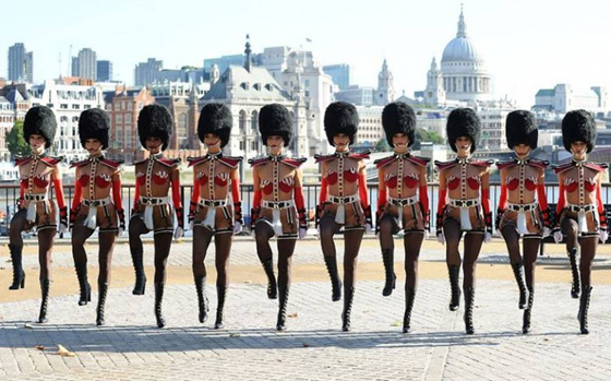 The dancers lined up on the South Bank in their 'God Save Our Bareskin' costumes (somewhat modified for modesty!) (Forever Crazy)
