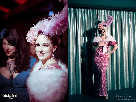 Duchess on stage. Copyright John Paul Bichard (left) and Bernie GoGo (right). Dixie Belle and Duchess Dubois at the Thursday launch.