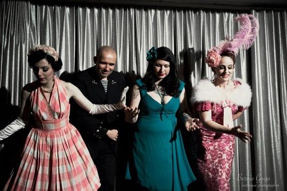 The producers: Fräulein Frauke, John Paul Bichard, Dixie Belle and Duchess Dubois. Looking at their shoes? Taking a bow?  Copyright Bernie GoGo.