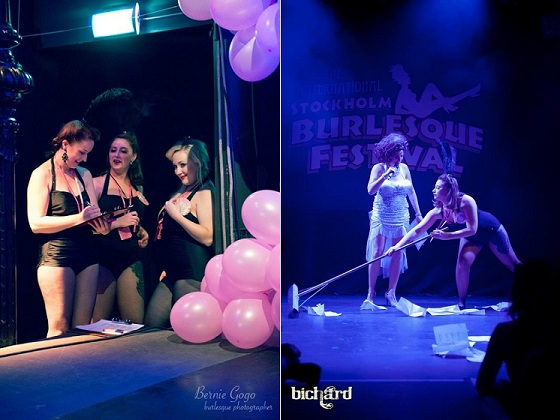 Left: The stage crew hanging out by the Eastern stage. Right: Freja Futch sweeping under Madame Magduschka's stern supervision.  Copyright Bernie GoGo (left) and John Paul Bichard (right).