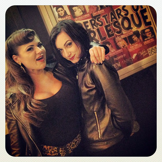 Roxi D'Lite and Michelle L'amour pose in front of the Superstars poster.  ©D'Arcy Bresson