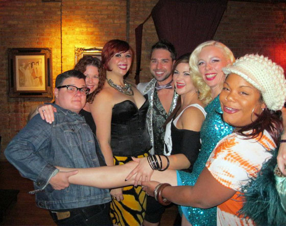 Left to right: Murray Hill, Frenchie Kiss, Jett Adore, Roxi D'Lite, Imogen Kelly and Foxy Tann. Photo by Lady Ginger
