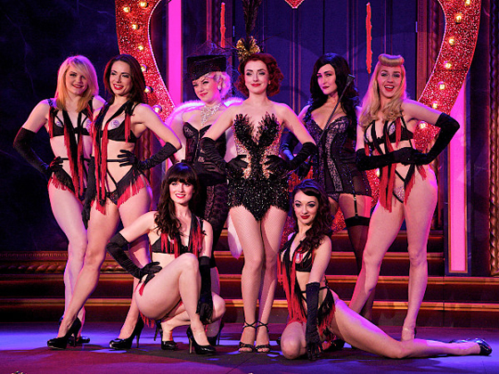 Polly Rae and the 2012 cast of the Hurly Burly Show at the Duchess Theatre.  ©Francis Loney